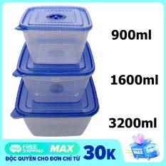 Bộ 3 hộp nhựa đựng thực phẩm vuông 900ml, 1600ml, 3200ml, cao cấp nhựa trong suốt có nắp đậy, trữ đông – màu ngẫu nhiên
