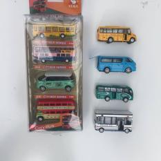 Set 4 chiếc xe bus trường học bằng sắt, mở cánh