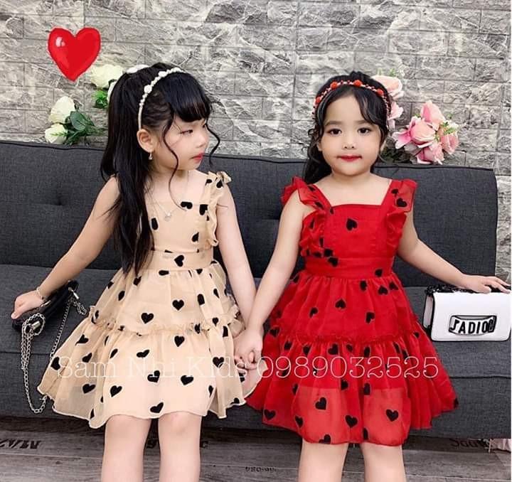 Váy xòe 2 dây họa tiết trái tim cho bé gái cực xinh