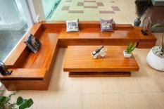 Bộ bàn ghế sofa góc hộp gỗ gõ đỏ