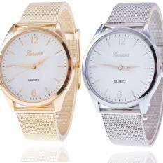[Lấy mã giảm thêm 30%] Đồng hồ thời trang nam nữ Geneva dây lưới vàng và bạc s1