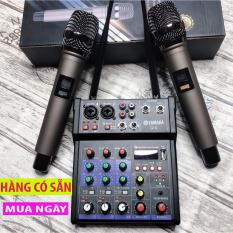 [ Phiên Bản Mới 2020 ] Trọn Bộ Mixer Yamaha G4 Bluetooth – Tặng Kèm 2 Micro Không Dây ,Bàn Mixer G4 Live Stream | Hỗ Trợ Màn Hình LED Có Bluetooth Dành Cho Loa Kéo- Âmly Dàn Hát Karaoke Gia Đình Âm Thanh Chắc Khỏe. Bảo Hành 12 Tháng