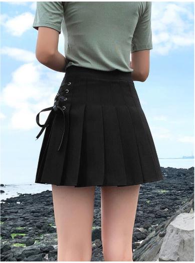 Hottrend-Chân Váy Xếp Li Đen Xỏ Dây Hông Dáng Thể Thao Trẻ Trung Năng Động