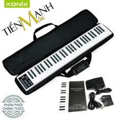 Đàn Piano Điện Konix 61 phím cảm ứng lực Flexible PZ61 – Midi Keyboard Controllers – Hãng phân phối chính thức (Bàn Phím Bảng Pin sạc 1100mAh – Phần mềm và Hướng dẫn Tiếng Việt -Tặng bao đựng)