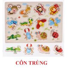 Đồ chơi bảng ghép gỗ có núm to 20×30 cm – Chủ đề côn trùng