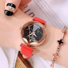 Đồng hồ nữ Sanda JAPAN Mặt kính đa giác 8 cạnh – Khắc Laser siêu đẹp + Tặng hộp & Pin