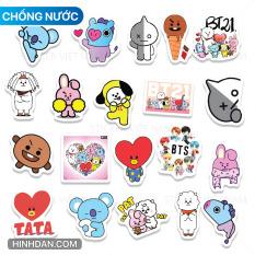 Sticker BT21 Kpop Dành Cho Army Hình Dán Trang Trí Chống Nước Decal Nhựa Chất Lượng Cao Mẫu Mới 2021
