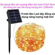 15M Dây Đèn Led Trang Trí sử dụng năng lượng mặt trời / đèn led dây đồng với 8 chế độ chớp nháy chống thấm nước dùng trang trí ngoài trời, sân vườn, ban công, cây cảnh, tường rào, cổng ngỏ, trang trí giáng sinh, năm mới