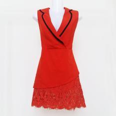 Jumsuit cổ vest giả váy màu đỏ cam xinh xắn