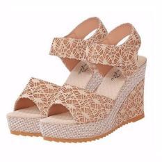 Giày sandal đế xuồng nữ cao 9 phân ADODA – ADDGN120 (kem)