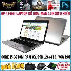 [Nhập ELMAR31 giảm 10% tối đa 200k đơn từ 99k]laptop đồ họa víp màn 17.3in vga rời HP 4740S Core i5-3210M Ram 8GB SSD256G+ 1TB VGA HD 7670 màn 17.3″ HD LED dòng laptop sang trọng bền bỉ vỏ nhôm bạc đẹp