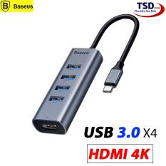 Hub Chuyển Type C to USB 3.0 và HDMI Baseus Enjoy Series (Type C to USB 3.0 x4 Ports + HDMI 4K, 5 in 1 intelligent HUB Adapter )