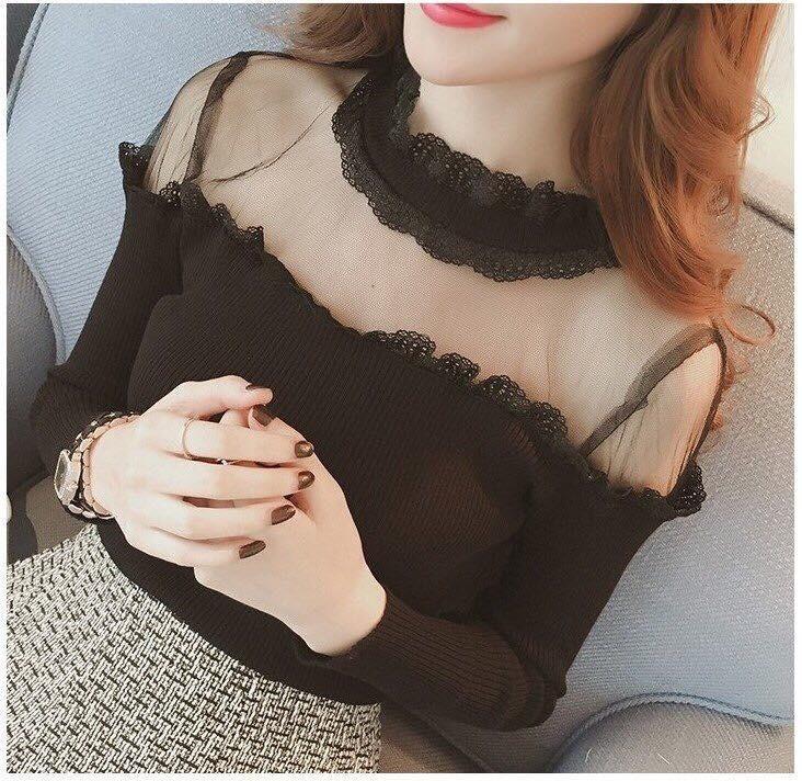 Áo len nữ , dáng đẹp cổ phối ren họa tiết rất đẹp