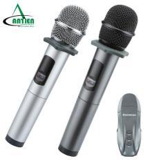 Micro Karaoke không dây hát trên ô tô, MC, thuyết trình Excelvan K18U, 02 mic, UHF – An Tiến