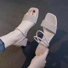 Sandal gót vuông quai cách điệu mang 2 kiểu – Giày cao gót 5 phân – 3 màu vàng – kem – đen – Đủ size 35-39 – Bảo hành trong 12 tháng – Elsa ES1807