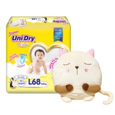 [Tặng gối bông mèo tròn] Tã dán Unidry size L 68 miếng (bé cân nặng 9-14kg)