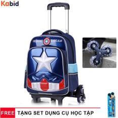 Ba lô kéo 6 bánh Heroic Captain America chống nước và bụi bẩn – Dây cặp phản quang – Tặng dụng cụ học tập