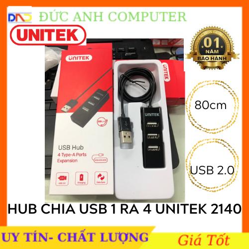 Hub USB Hub USB 2.0 UNITEK 1 Ra 4 Cổng – Dây Dài 80cm UNITEK Y-2140 – Chính Hãng 100%