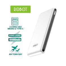 [Bảo Hành 12 tháng] Sạc dự phòng ROBOT RT180/190 10000mAh thiết kế nhỏ gọn 1 cổng USB và 1 cổng Micro/Type-C tặng dây sạc Micro – Hàng chính hãng
