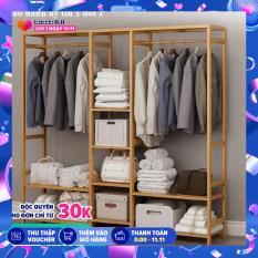 Tủ treo quần áo gỗ tre mẫu lớn 145x30x165cm, giàn treo quần áo,cây treo quần áo, kệ treo quần áo, tủ quần áo