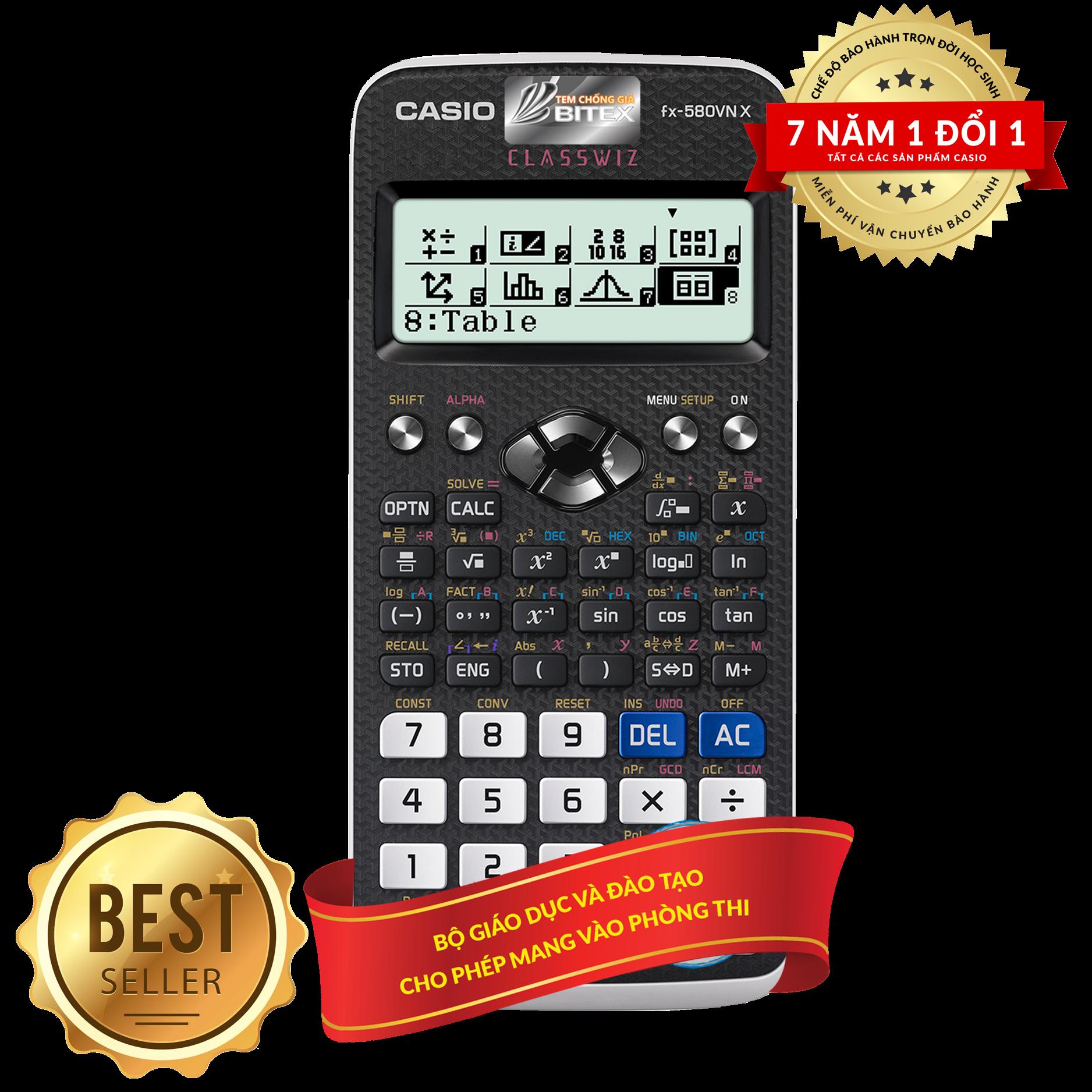 Máy tính học sinh Casio FX580VN X (BH 7 NĂM) (1 đổi 1) N/K Chính Hãng ( fx580vnx ) casio fx580