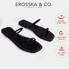 Dép đi biển thời trang Erosska 2021 quai dây mảnh màu đen – DE041