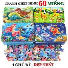 Đồ chơi thông minh trẻ em tranh ghép hình 60 MIẾNG HỘP SẮT phát triển tư duy logic cho bé từ 4 tuổi trở lên