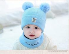 Set mũ tặng kèm khăn ống cục bông I LOVE hàng xịn cho bé gái bé trai 0-36 tháng DATANSHOP