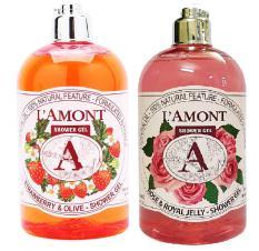 Combo Sữa Tắm Strawberry (Dâu tây) 500ml & Sữa tắm Rose (Hòa hồng) 500ml – Nhãn hiệu Lamont En Provence