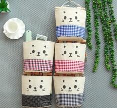 Túi treo tường vải bố hình mèo, túi treo tường để đồ dùng tiện dụng,giá để đồ bằng vải treo tường đa năng