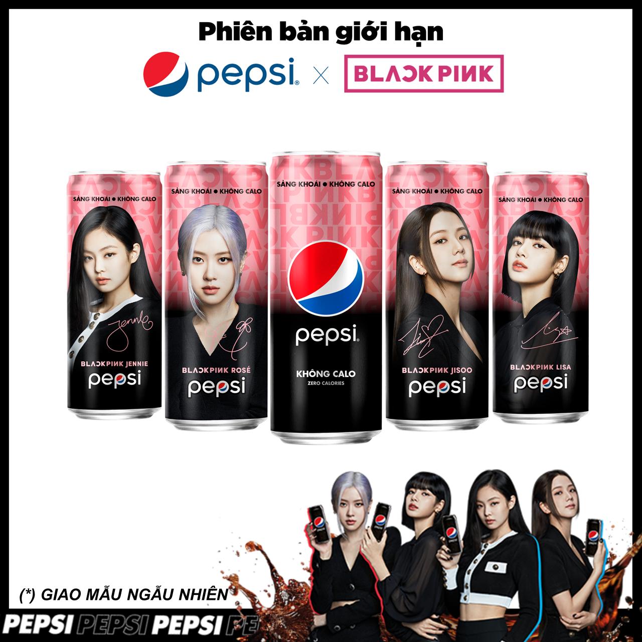 Lốc 6 Lon Nước Giải Khát Pepsi Không Calo x Blackpink Phiên Bản Giới Hạn (330ml/Lon) (Mẫu ngẫu nhiên)
