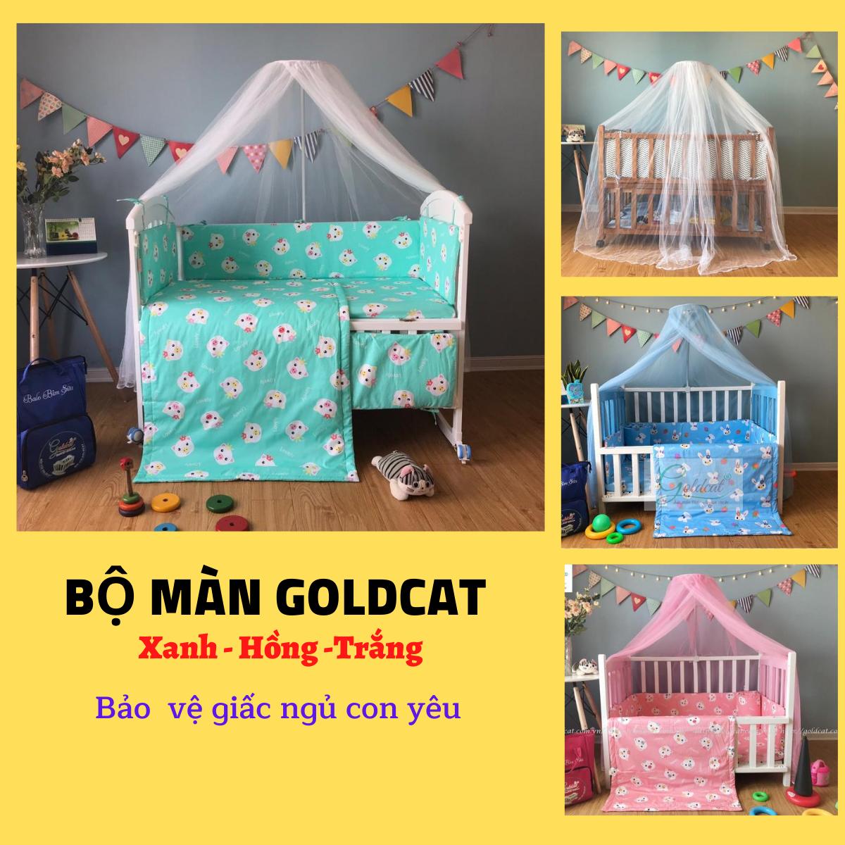 Màn cho bé-Bộ màn và cây treo Goldcat ( xanh-hồng- trắng)