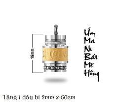 MẶT DÂY CHUYỀN TITAN UM MANI PADME HUM HÌNH TRỤ 19MM MD180M (Tặng 1 dây bi) – Trang sức inox – titan TAJ giá rẻ bảo hành không đen tại HCM