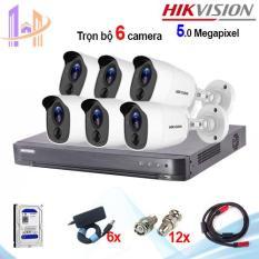Trọn bộ 6 camera Hikvision DS-2CE11H0T-PIRL (5MP) + đầu ghi 8 kênh DS-7208HUHI-K1 – Công Nghệ Hoàng Nguyễn