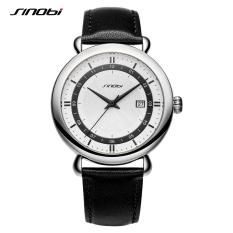 Sinobi Fashion Leather Man's Watches Casual Design Mens Quartz Wristwatches Quality Clock For Male