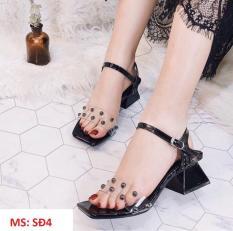 (Có mã miễn ship) Giày nữ, giày sandal cao gót đế vuông 5 phân quai trong đính hạt lên chân sang chảnh PinkShopGiayDep