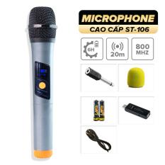Micro không dây lẻ giá rẻ C.O.K ST-106 (1 Micro tương thích với 1 đầu thu) [Micro Karaoke dành cho loa kéo, dàn âm Ly có cổng Mic Jack 6.5] – Hàng mới 100% chính hãng bảo hành 6 tháng