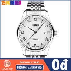 Đồng hồ nam dây thép không gỉ Skmei 9058 chống nước 30m máy chạy 3 kim,hiển thị lịch ngày tự động bảo hành 12 tháng