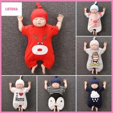 Body Cộc cho Bé Trai Bé Gái kèm Mũ họa tiết siêu dễ thương từ 0-24 tháng tuổi