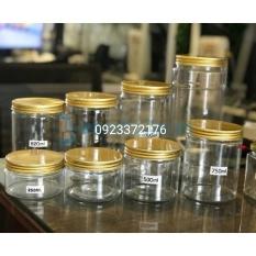 Combo 10 Hộp Hũ Nhựa PET 500ml Nắp Nhôm Vàng Kèm Lót – Đựng Thực Phẩm Đồ Khô Ngũ Côc