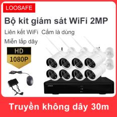 Bộ kit camera giám sát WiFi không dây 8 kênh 2.0 MP, hỗ trợ giám sát từ xa trên điện thoại