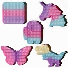 Thay đổi màu sắc Rainbow Pop It Fidget Toys Đồ chơi giáo dục màu sắc Đẩy silicone Photochromic ngón tay Bong bóng ánh nắng mặt trời Đổi màu Popit