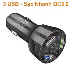 Tẩu sạc Nhanh QC3.0 3USB xe hơi, Sạc điện thoại cực nhanh QZ369