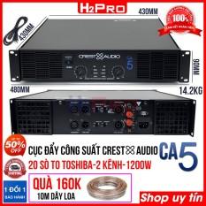 Cục đẩy công suất 2 kênh CREST AUDIO CA5 H2Pro, 1200w-20 sò to-nguồn xuyến, cục đẩy công suất karaoke cao cấp cho âm thanh hay-khoẻ-rõ ( tặng 10m dây loa 160K )