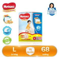 [Tặng thêm 8 miếng trong gói] Tã/bỉm quần Huggies Super Jumbo L68 – 68 miếng (Cho bé 9kg – 14kg)