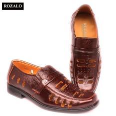 Giày lười nam đục lỗ da bò Rozalo R3586