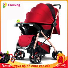Xe nôi xe đẩy em bé bản cao cấp hai chiều hai tư thế nằm ngồi siêu nhẹ có thể gấp xách tay kèm quà tặng hấp dẫn cho bé ( Bảo hành 2 năm lỗi 1 đổi 1 trong 7 ngày )