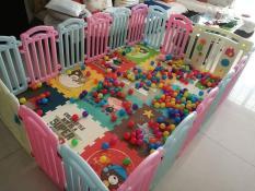 [Tặng Combo Thảm xốp, 100 bóng, 01 rổ lưới] Quây cũi nhựa nguyên sinh xuất Hàn cho bé – Quây bóng chiều cao 63cm – Hàng rào nhựa cao cấp – Quality Baby Fence