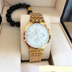 đồng hồ nam Baishuns dây mạ vàng ,mặt trắng sành điệu
