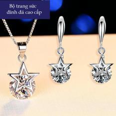 Bộ trang sức bạc Italia ngôi sao may mắn nạm đá zircon dây chuyền và bông tai bạc Ý bạc 925 MDL- BTS59